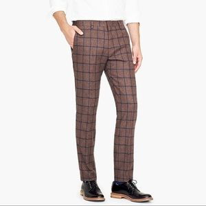 Ludlow slim-fit pant in windowpane wool blend